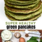 A stack of green spinach pancakes and ingredients to make them