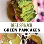 Green spinach pancakes stacked on top of each other