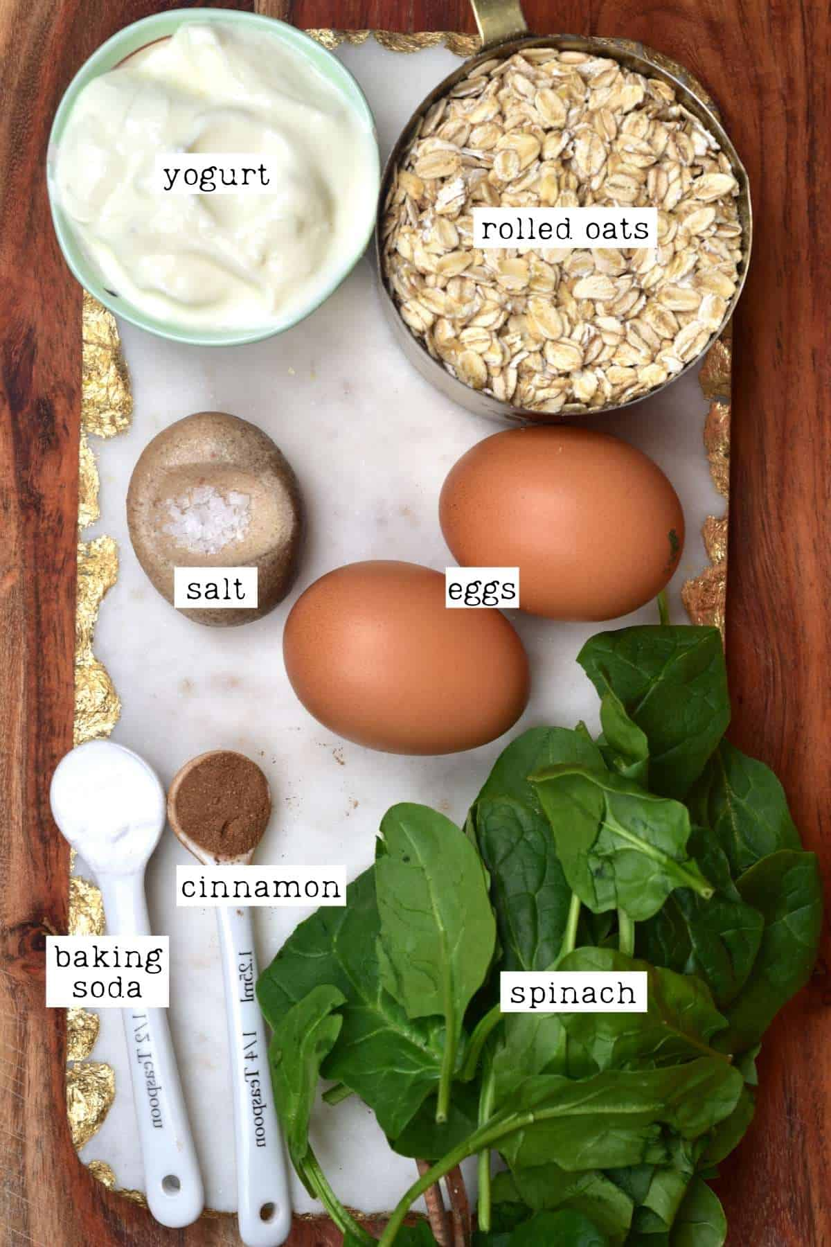 Ingredients for spinach pancakes