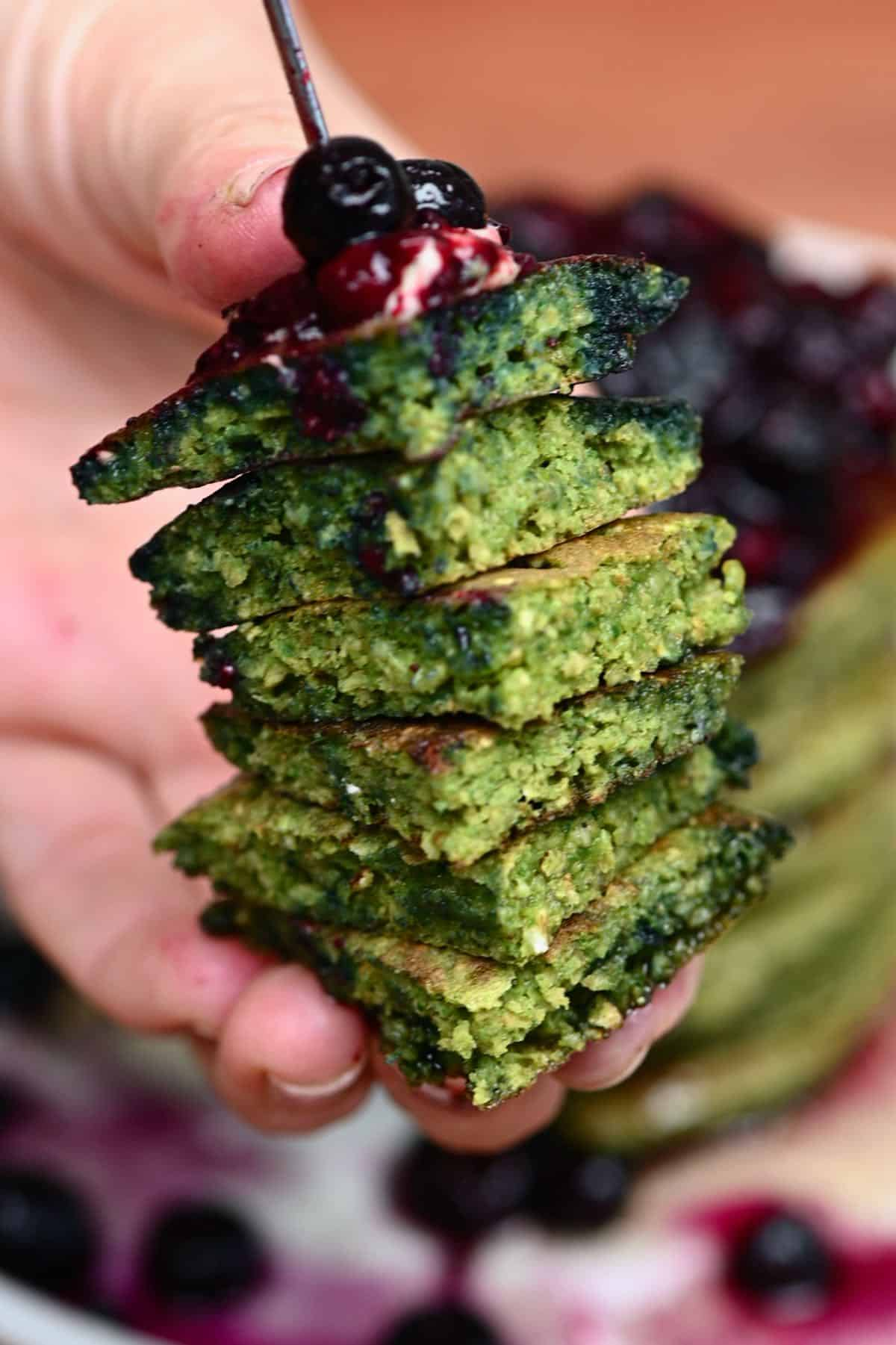 A slice of green pancakes