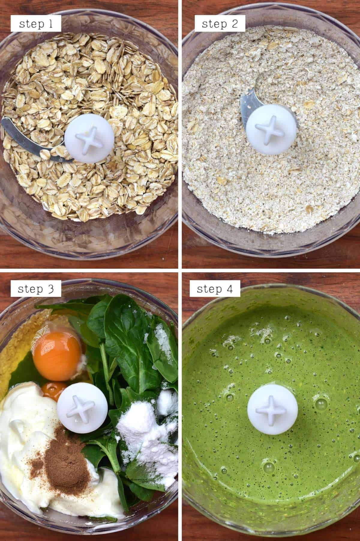 Steps for making spinach pancakes
