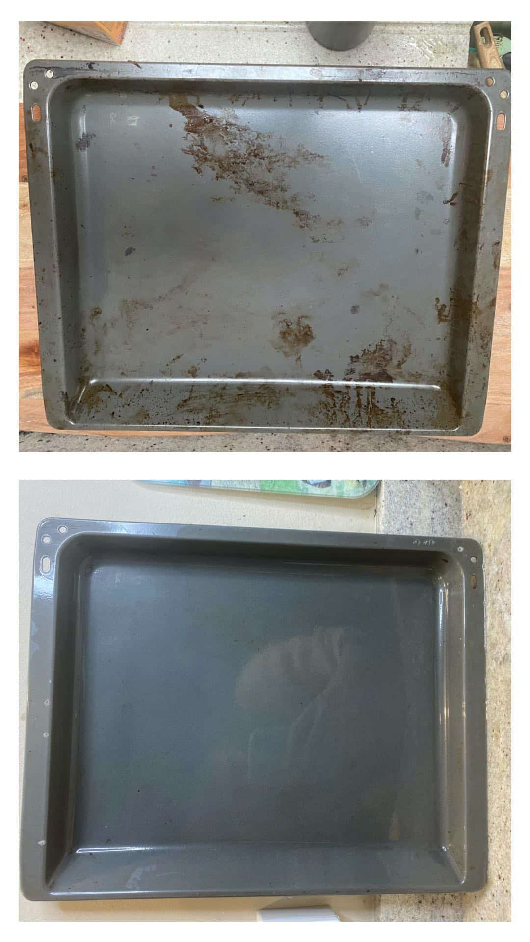 Comparing dirty and clean baking tray