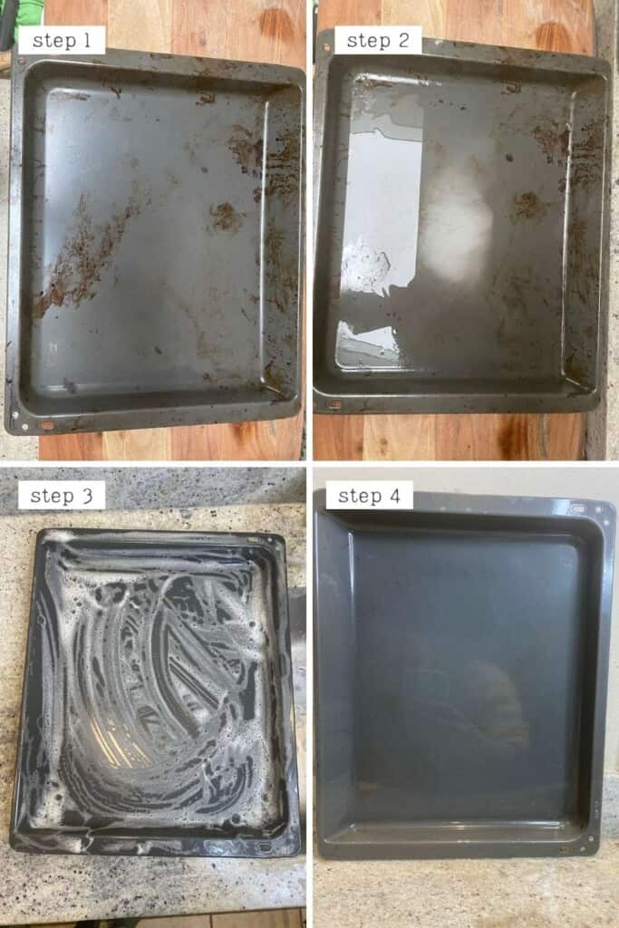 Steps for cleaning dirty oven tray