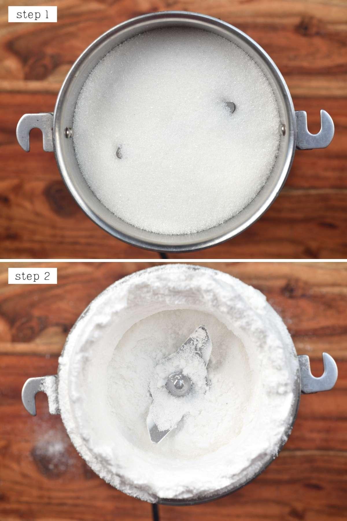 Steps for making powdered sugar
