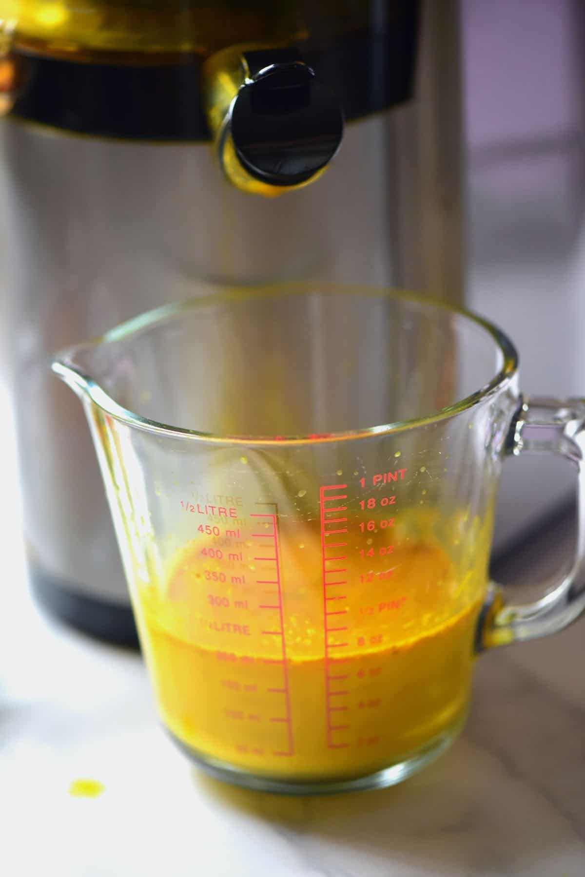 Turmeric juice in a pitcher