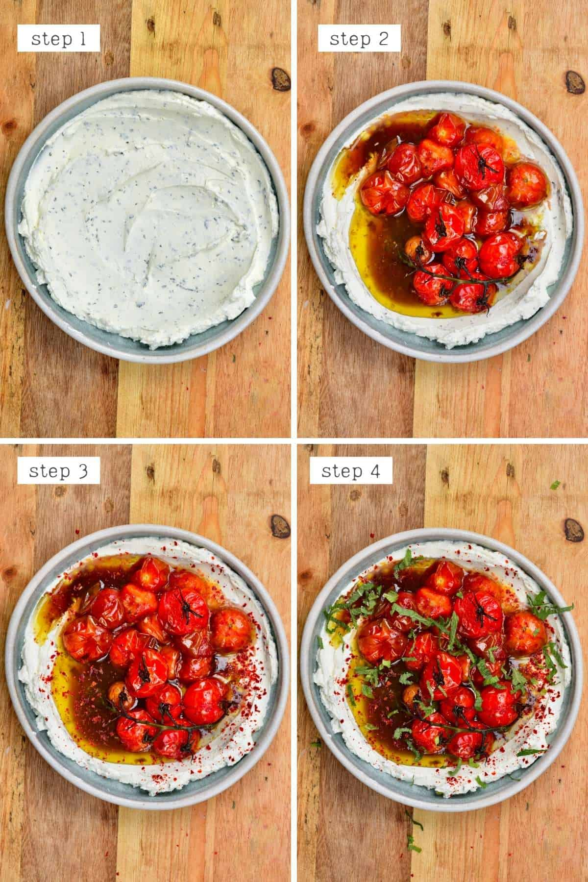 Steps for topping labneh dip with roasted tomatoes
