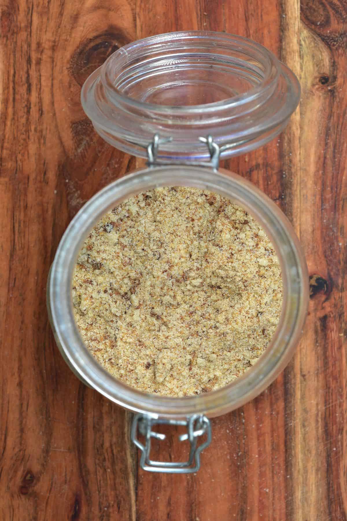 Fine breadcrumbs in a jar