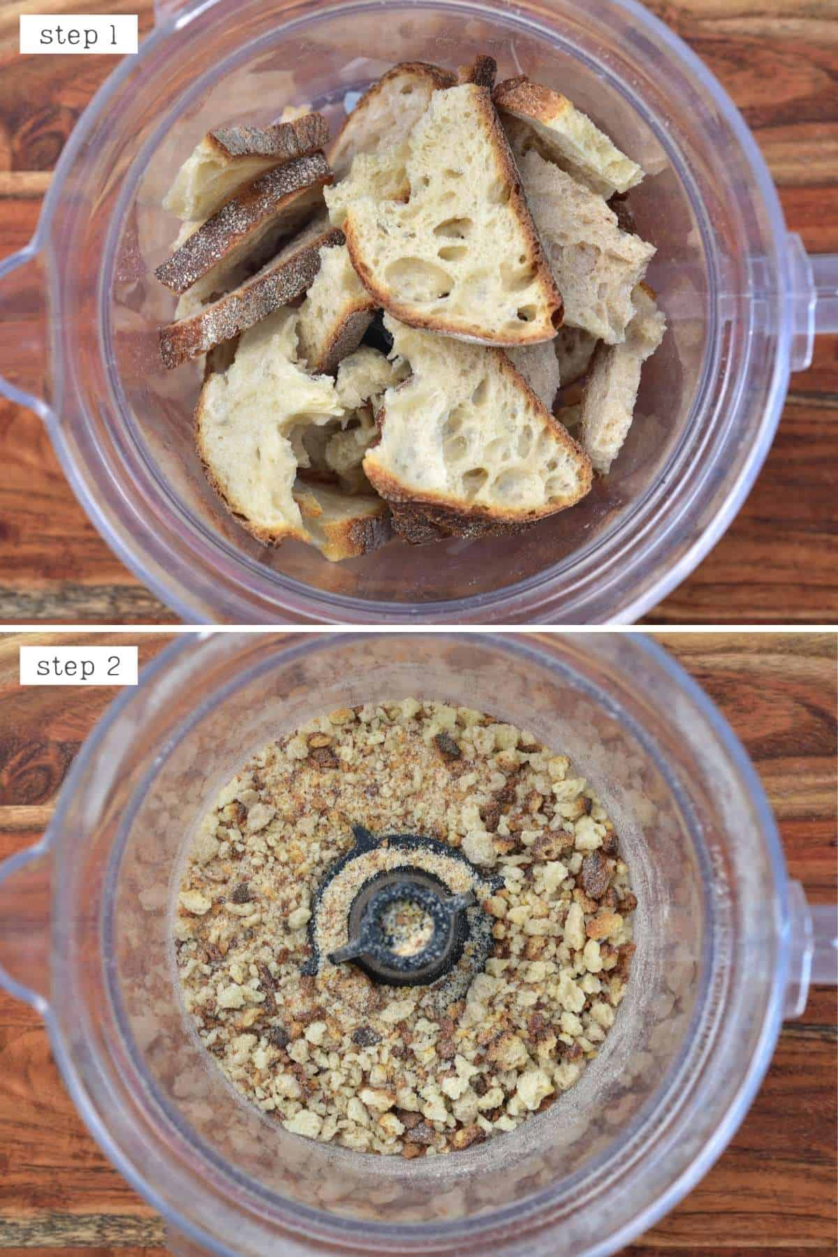 Steps for making breadcrumbs