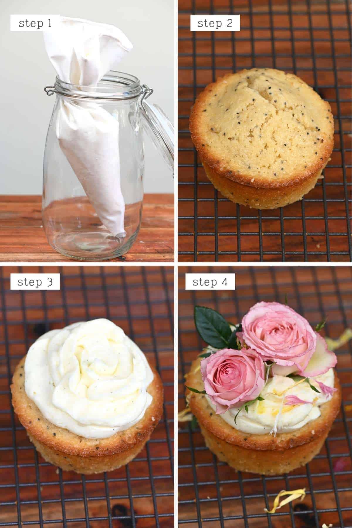Steps for decorating lemon cupcakes