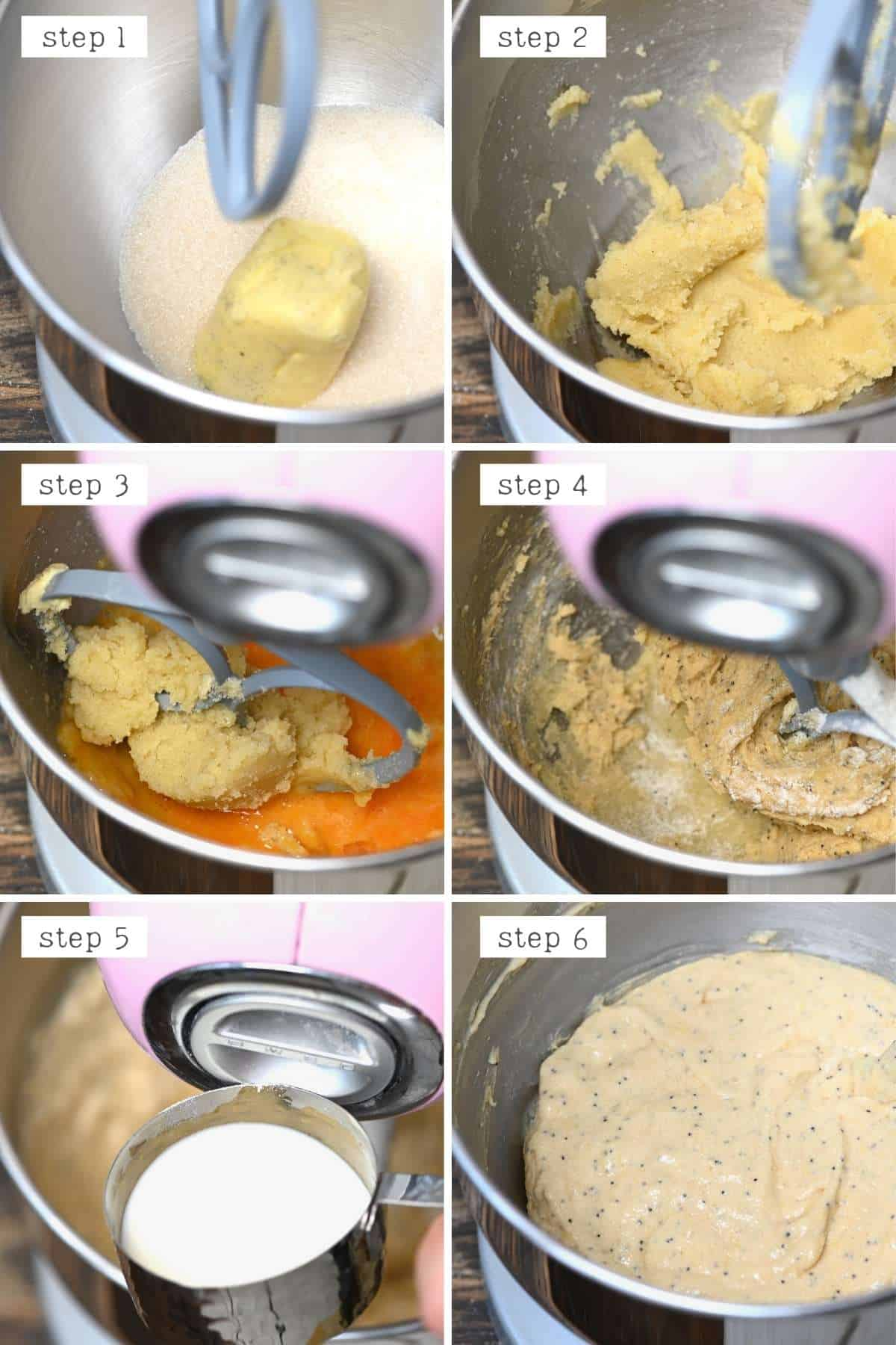 Steps for preparing lemon cupcake batter