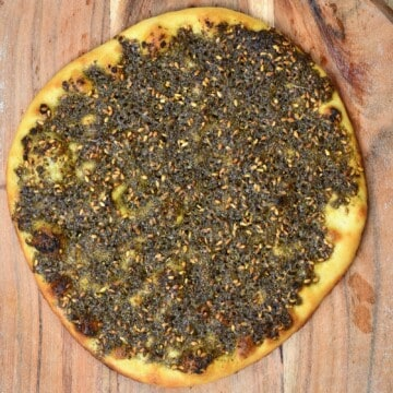 Manakish Zaatar bread on a wooden board