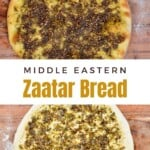 Manakish Zaatar after and before cooking