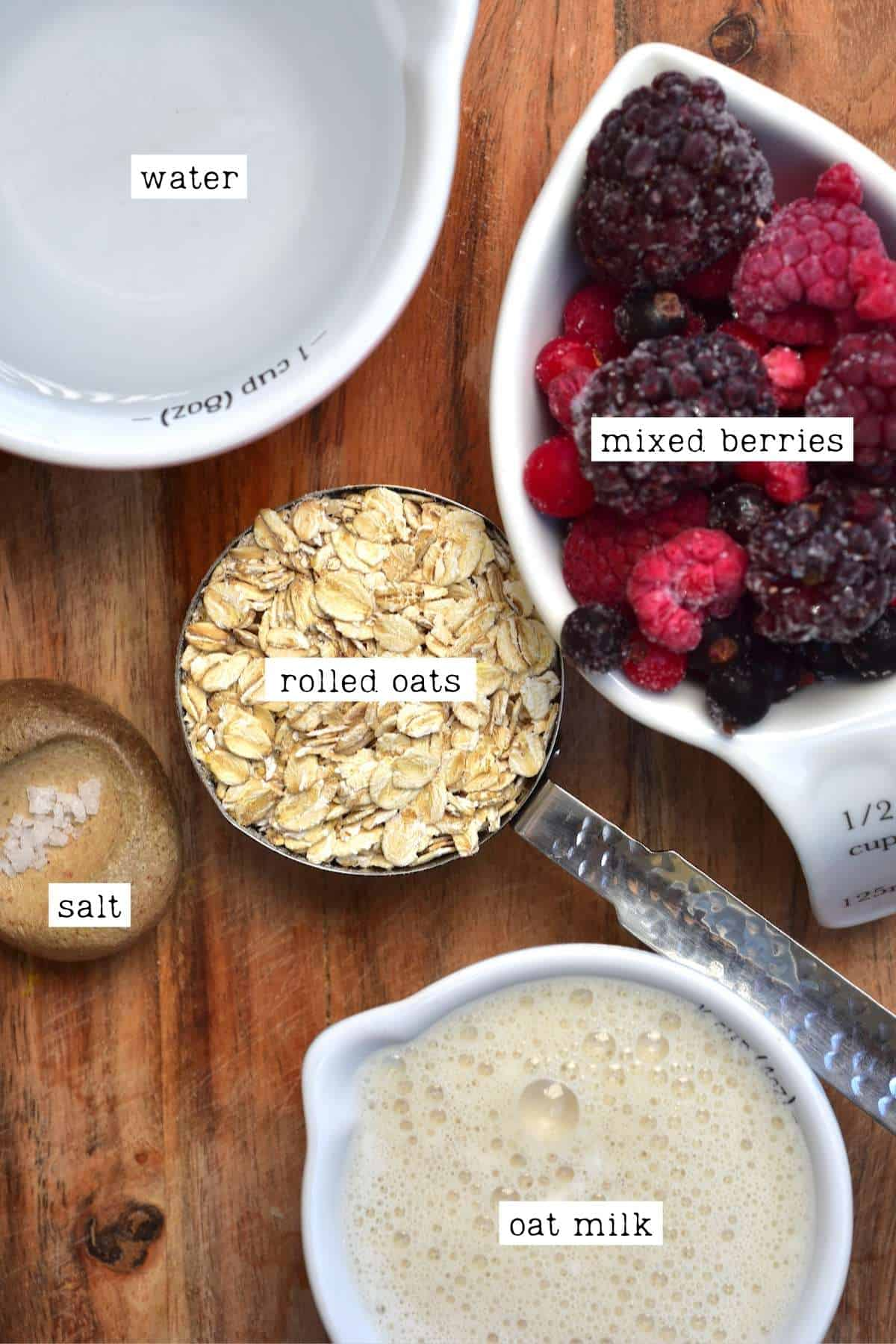 Ingredients for berry oatmeal