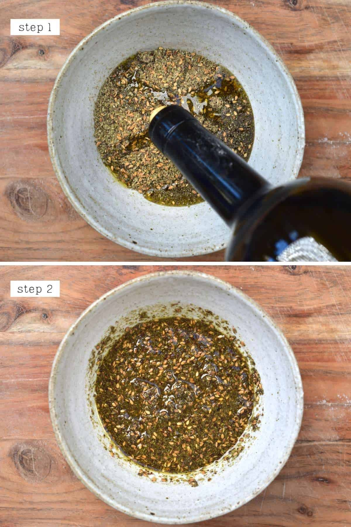 Mixing olive oil with zaatar