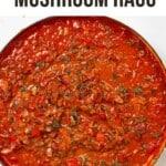 Mushroom ragu in a large pan