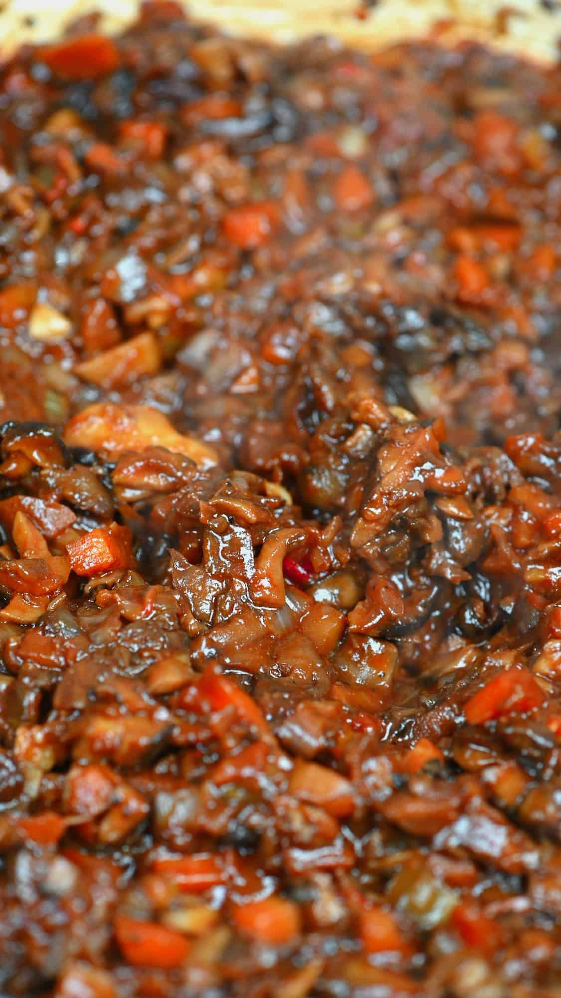 A close up of mushroom ragu