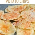 Potato chips with salt and spice in a plate