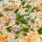 Potato chips topped with parmesan and parsley