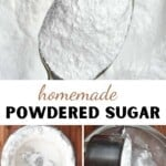 A spoonful of powered sugar and steps to making powdered sugar