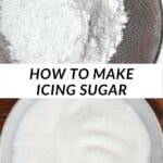 Sieving powdered sugar and a bowl of crystallised sugar