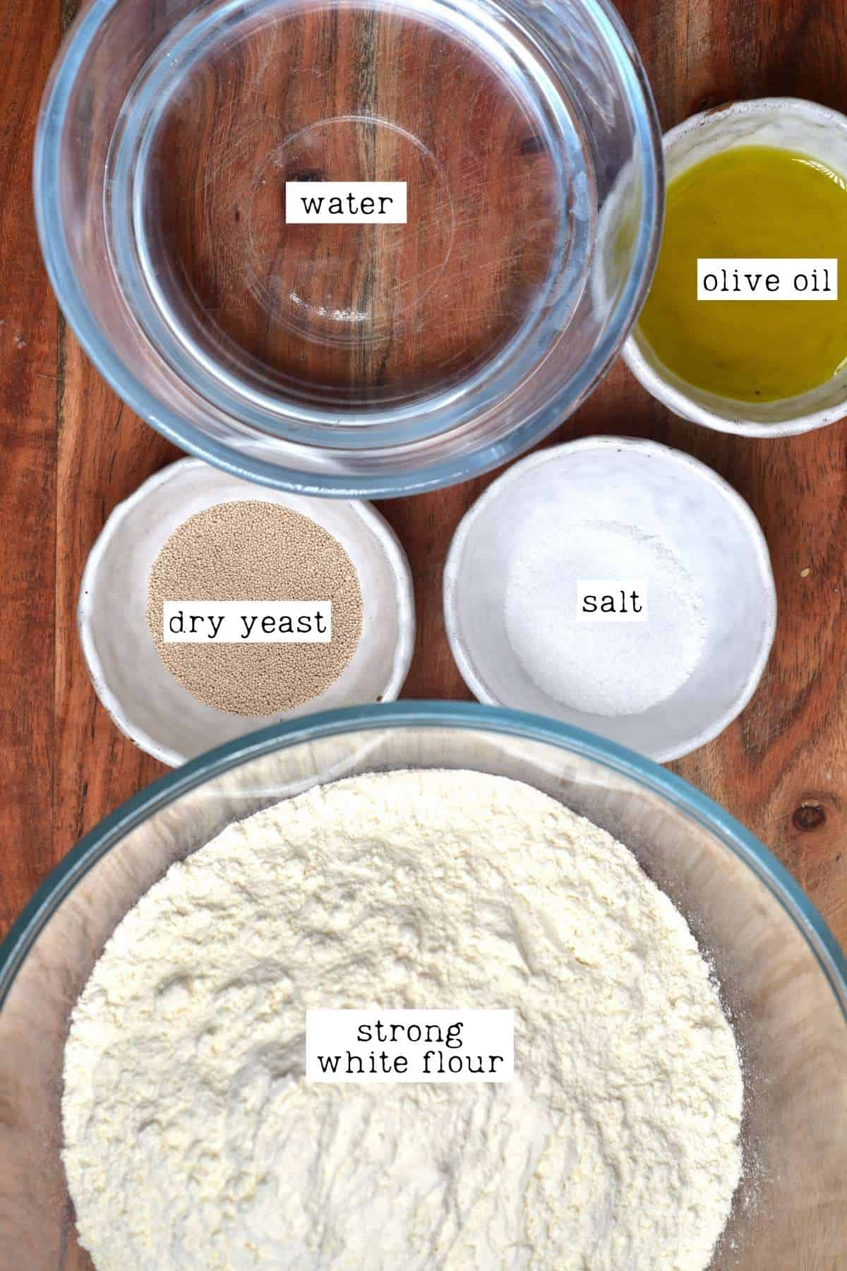 Ingredients for pretzels