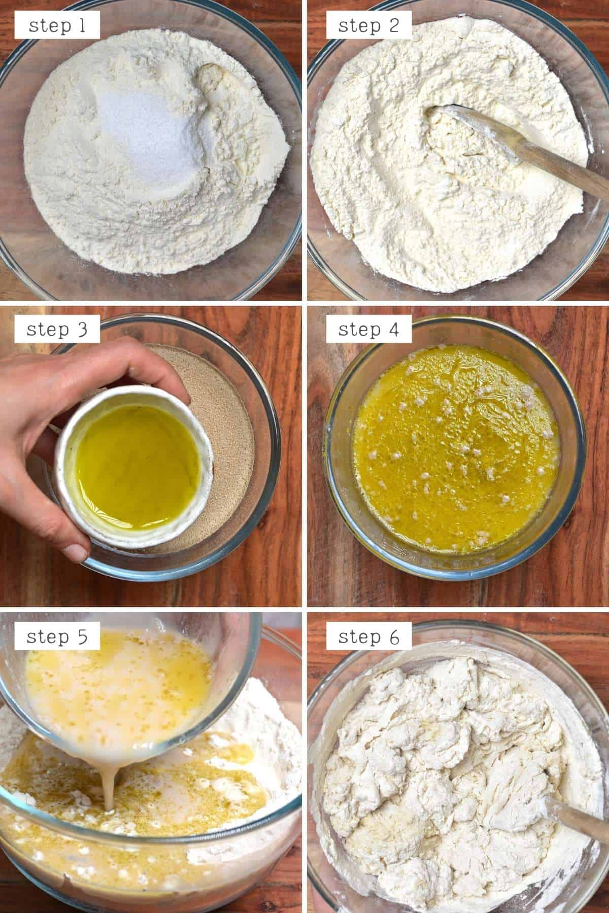 Steps for making pretzel dough