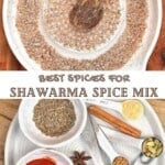 Grated nutmeg and ingredients for shawarma spice mix