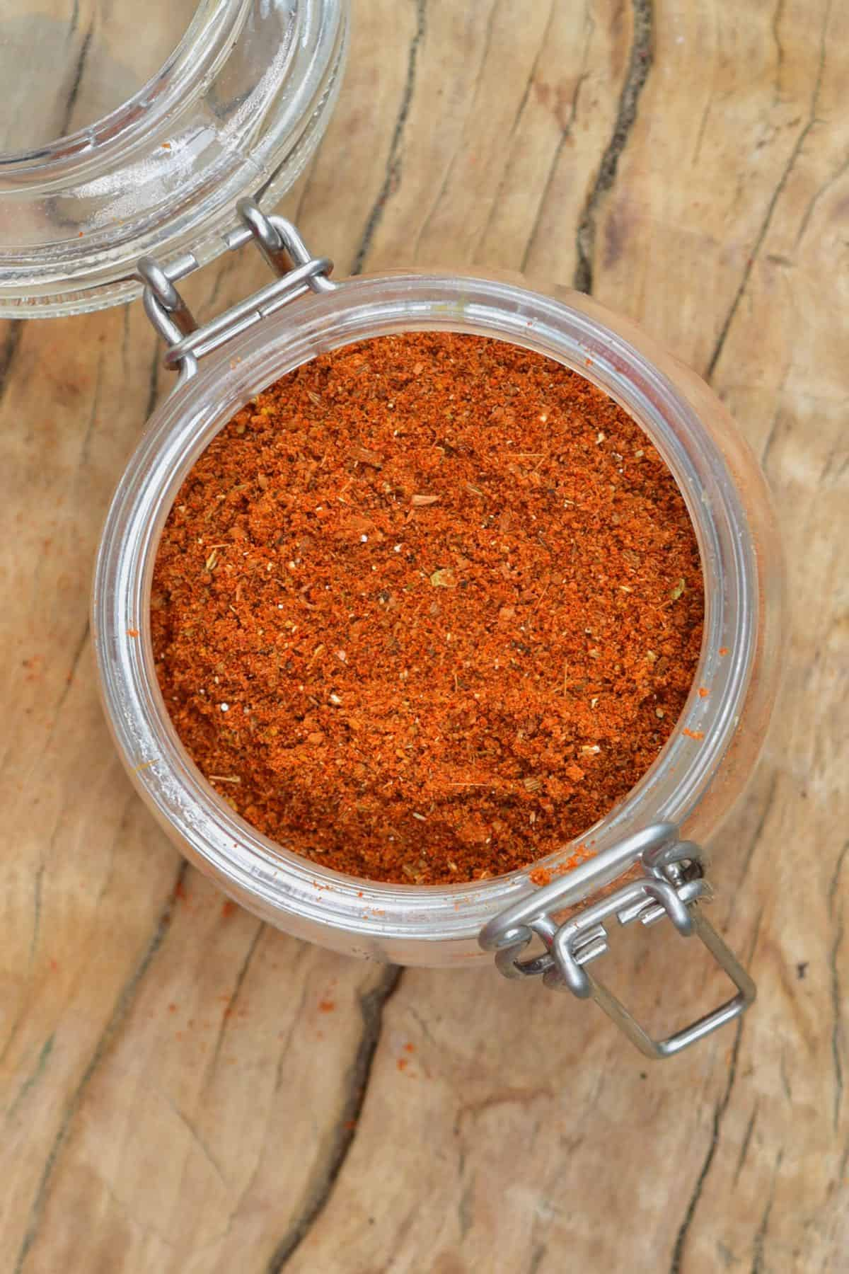 Shawarma spice mix in a jar