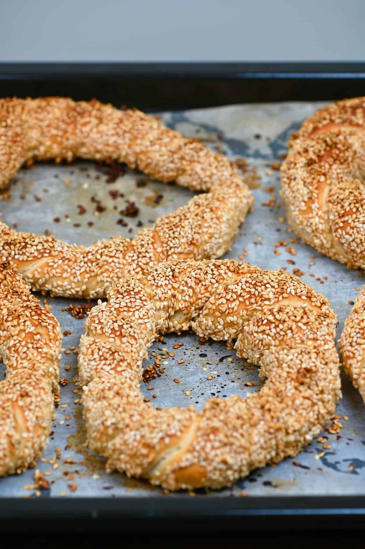 Baked turkish bagel (simit)