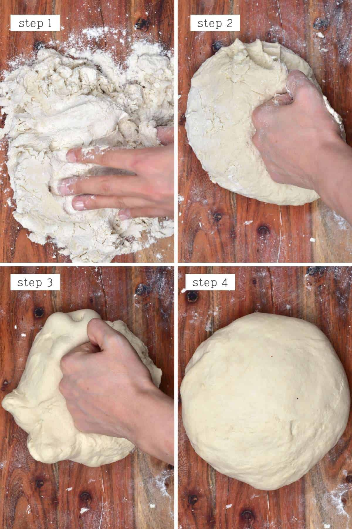 Steps for kneading dough