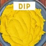Yellow split pea dip in a bowl