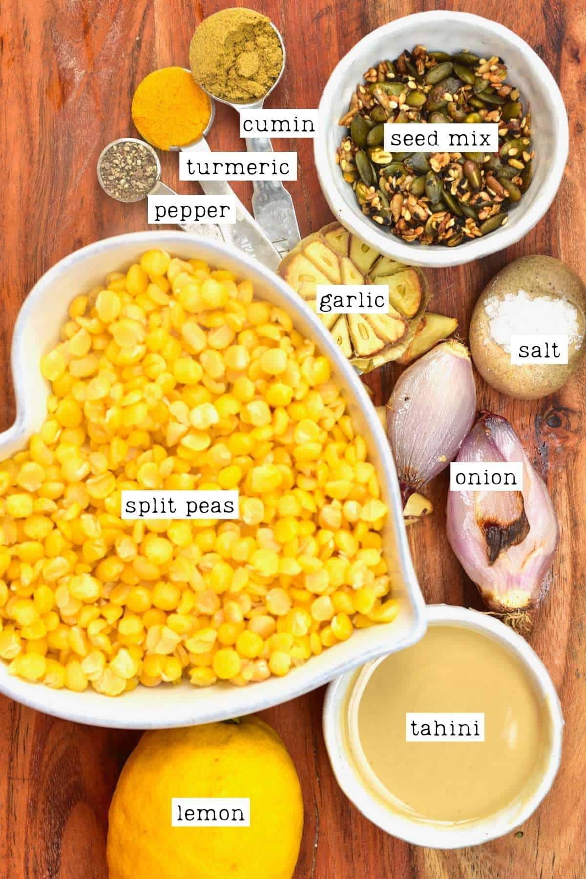 Ingredients for split pea dip