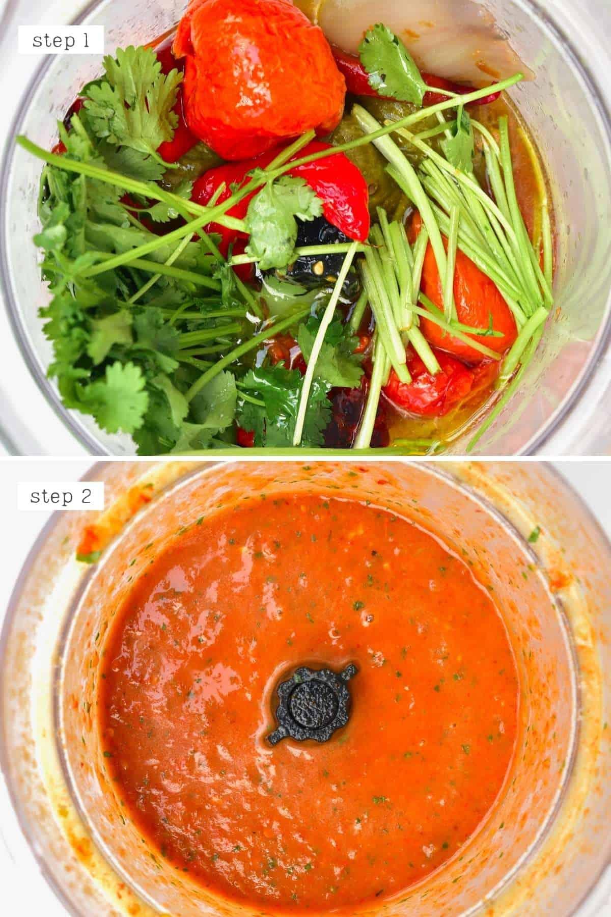 Steps for blending salsa roja