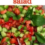 A spoonful of tomato and cucumber salad