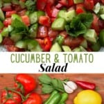 Ingredients for tomato and cucumber salad