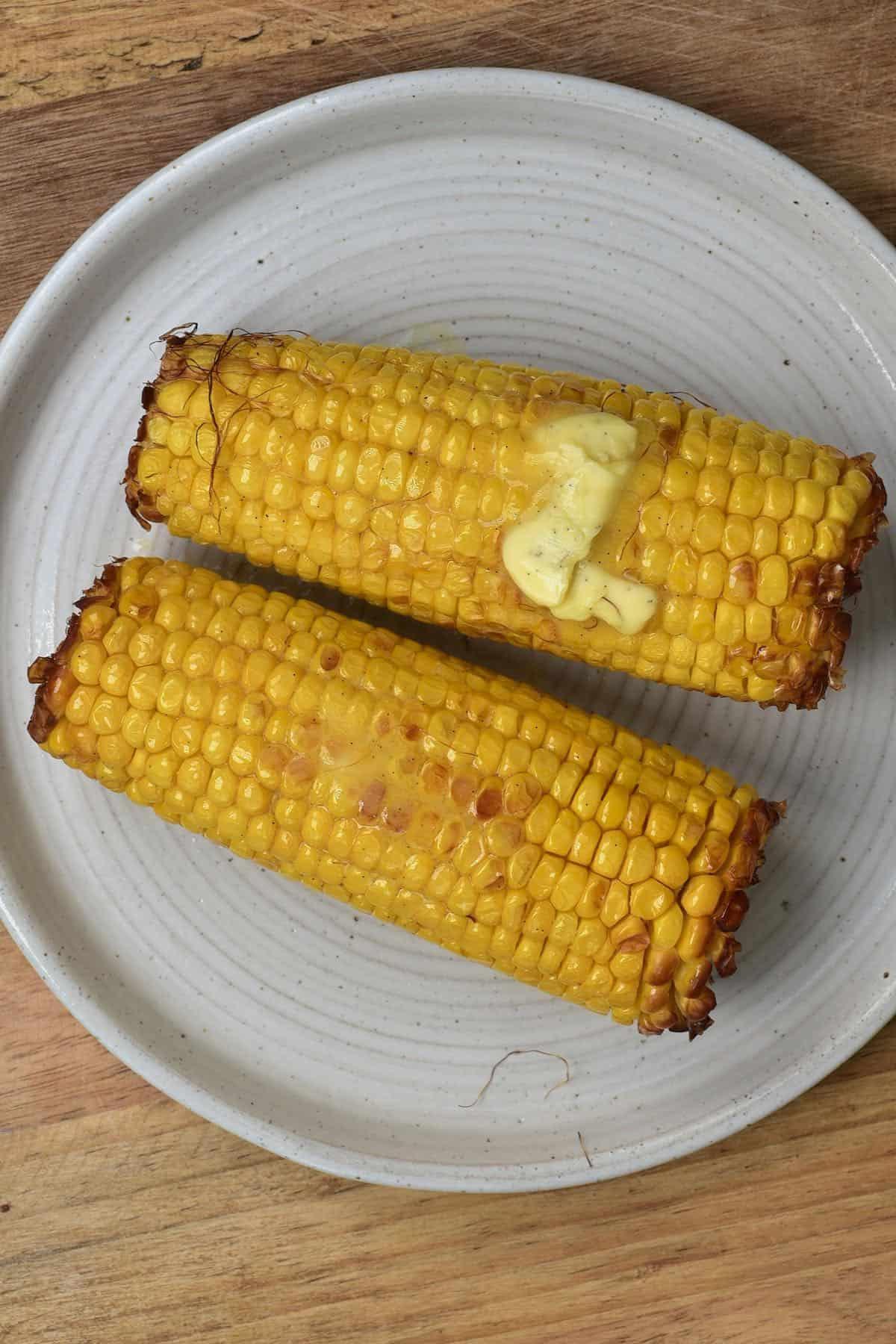 Vanilla butter on sweet corn on a cob