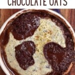 Baked vanilla chocolate oats in a ramekin