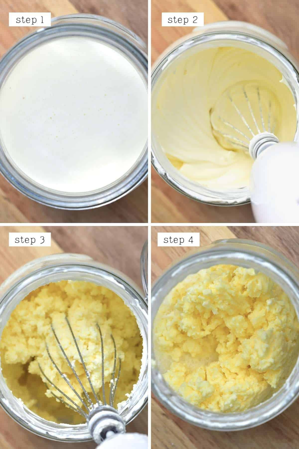 Steps for making butter from cream