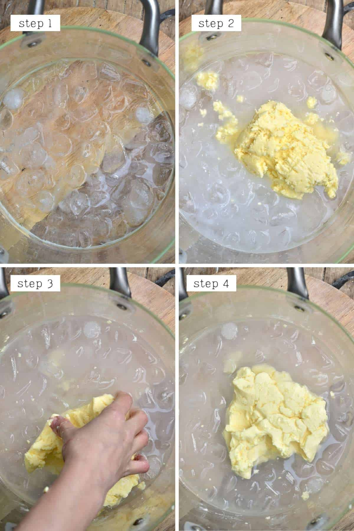 Steps for removing buttermilk from homemade butter
