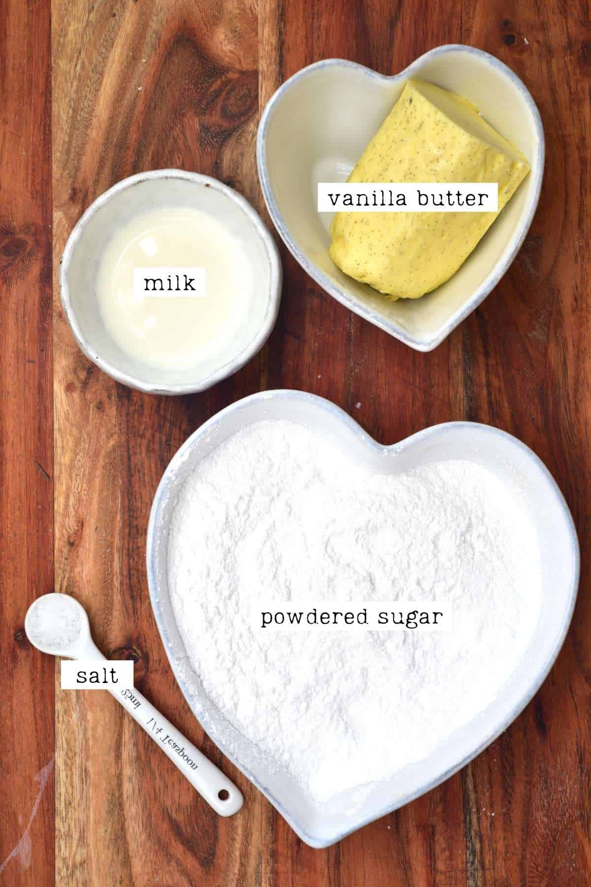 Ingredients for vanilla buttercream