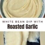 White bean dip served in a pale blue bowl
