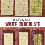 Three bars of homemade white chocolate with different toppings and three chocolate molds with chocolate