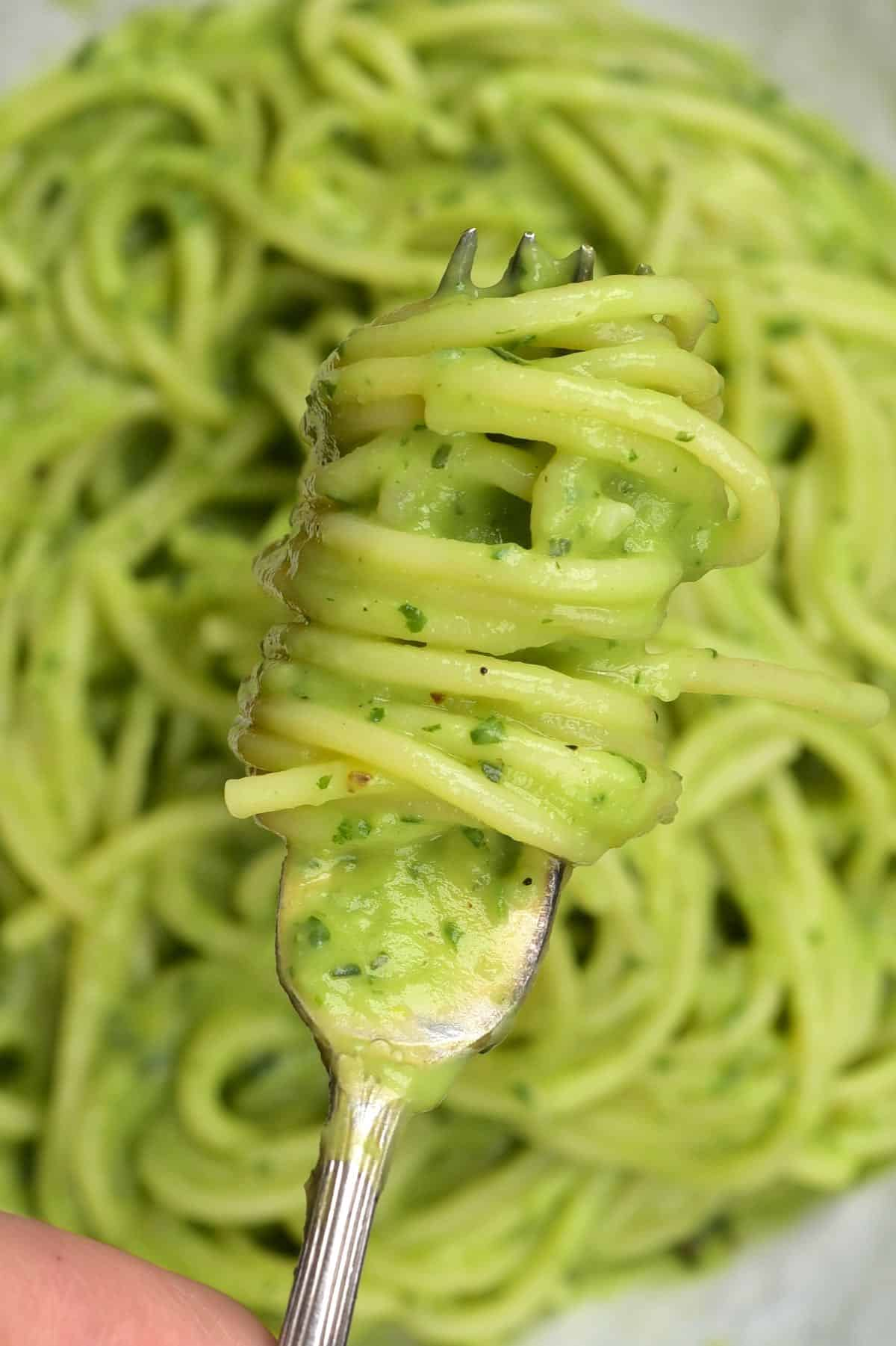 A forkful of avocado pasta