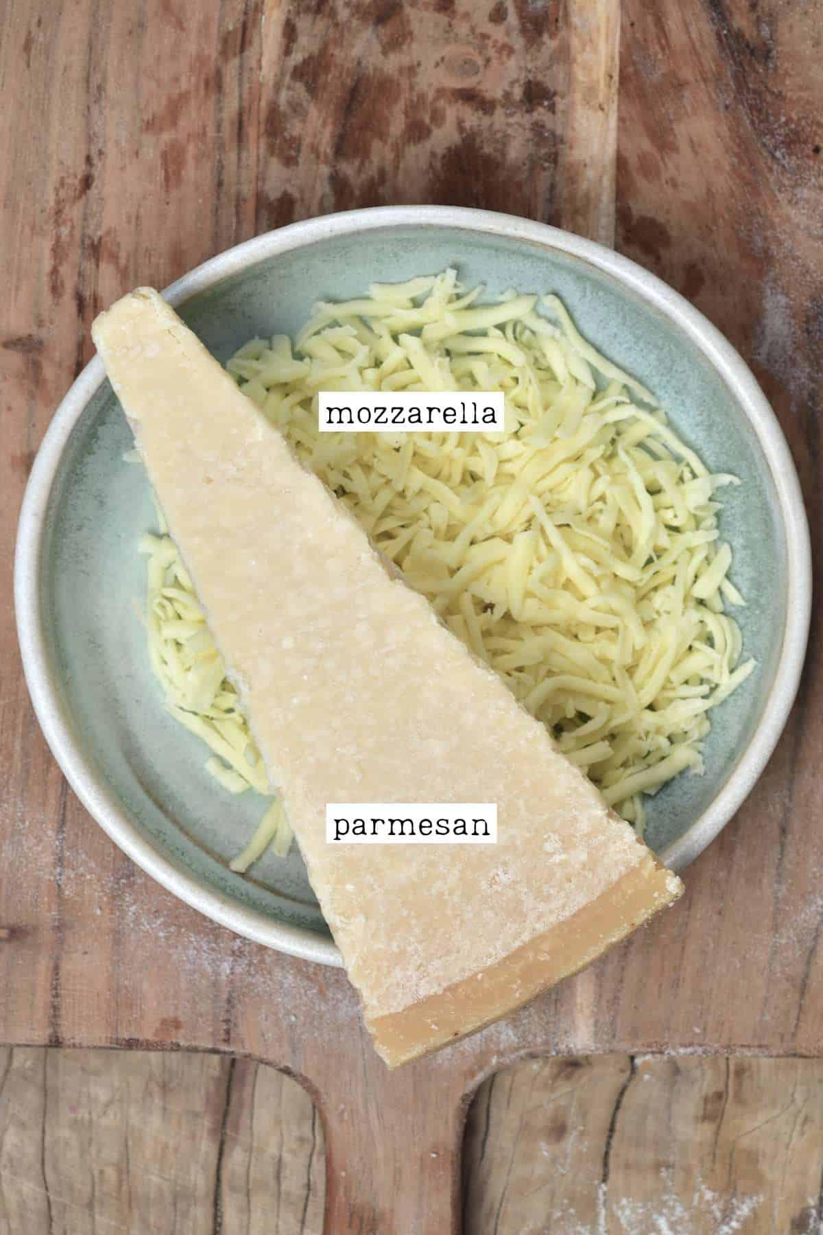 Parmesan and mozzarella