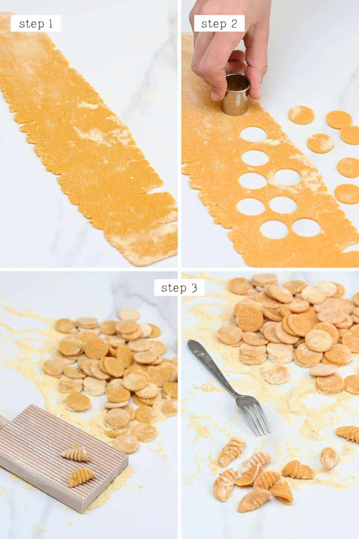 Steps for forming pasta