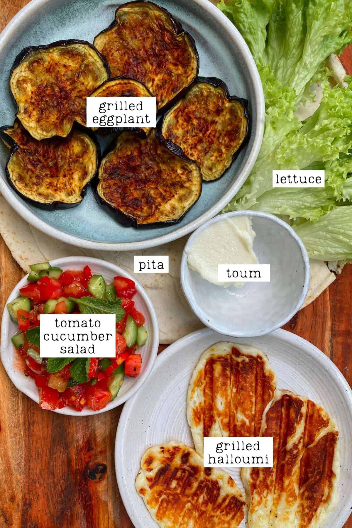 Ingredients for eggplant halloumi wrap