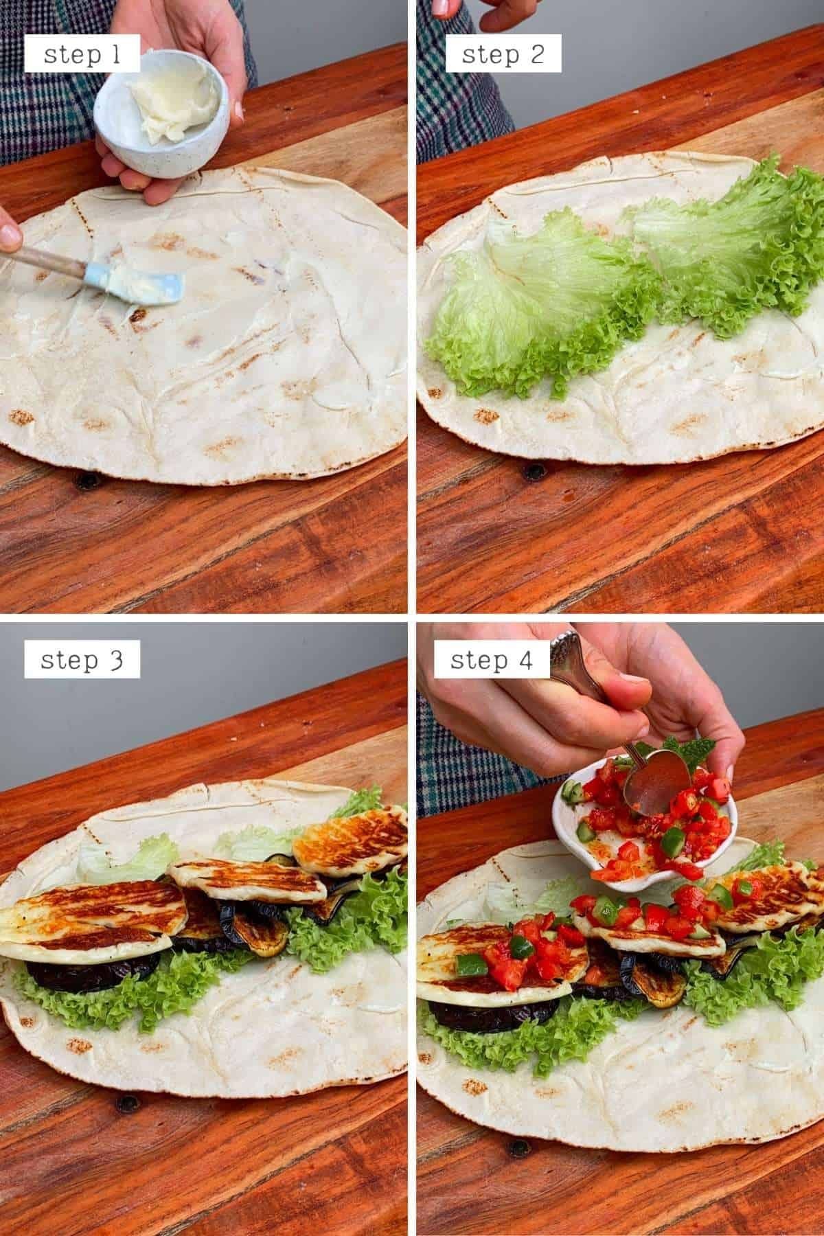 Steps for making a wrap