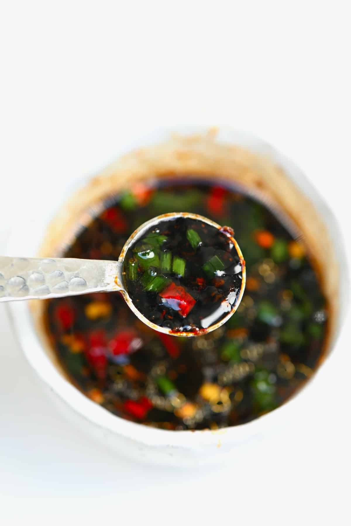 A spoonful of dipping sauce
