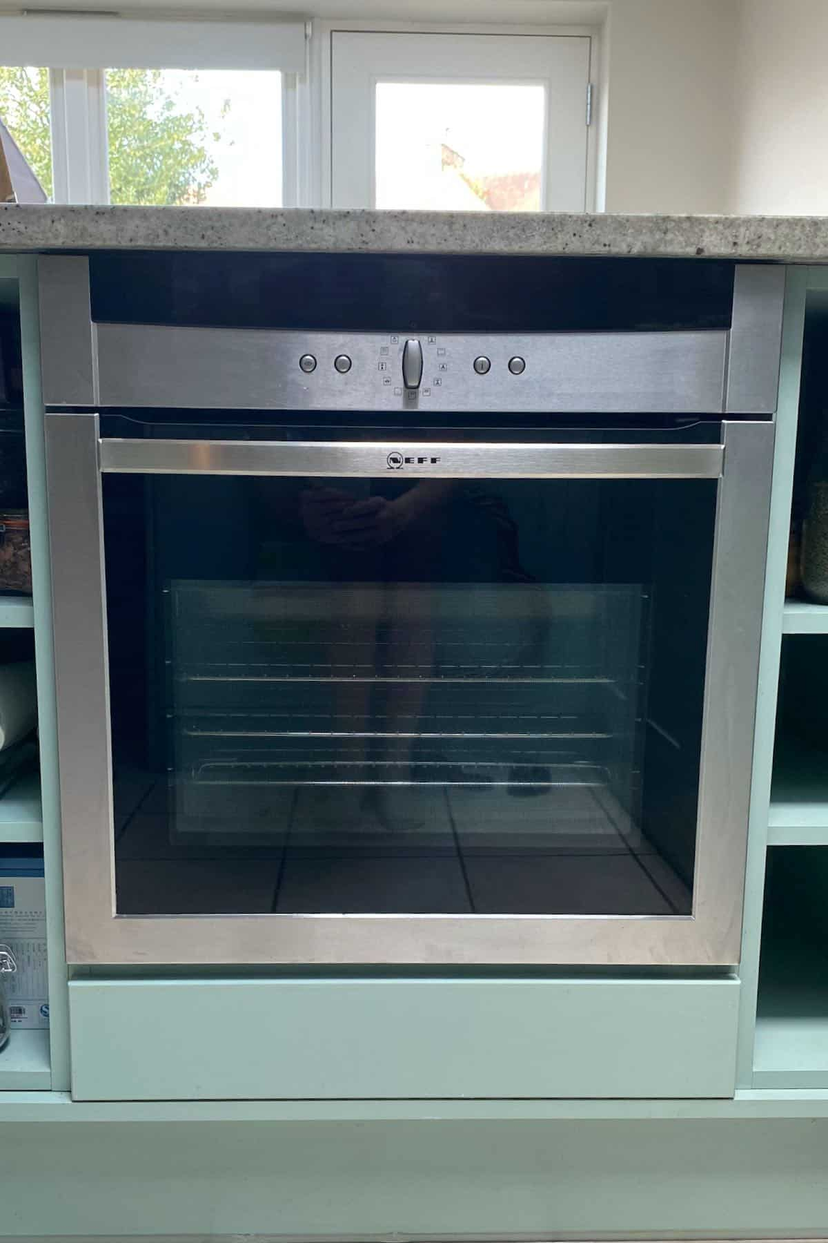 Oven with a closed door
