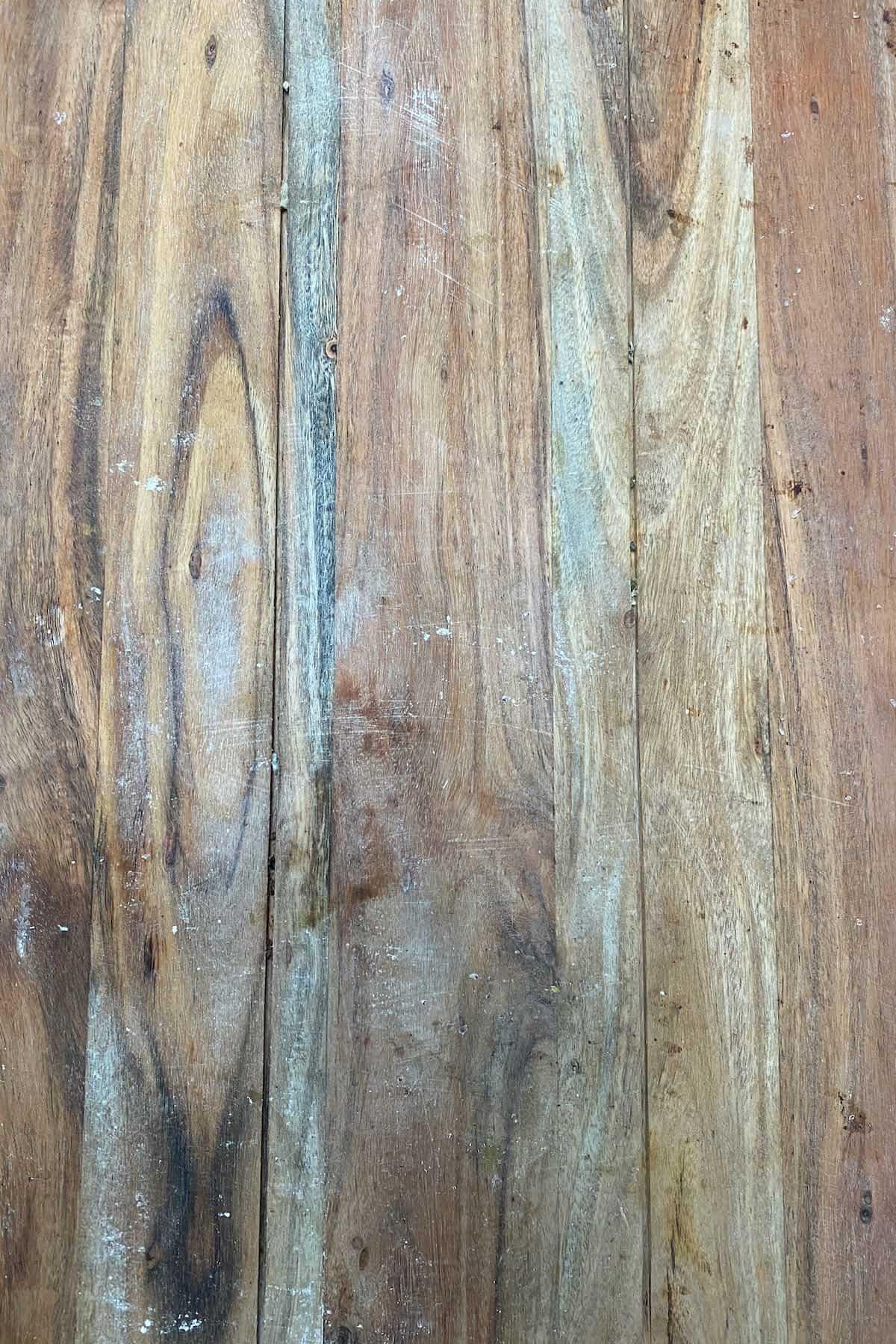 A dirty wooden cutting board